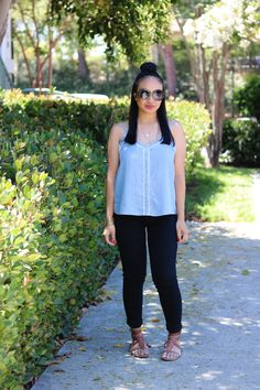 Top: Hinge; Pants: Topshop; Shoes: Old Navy; Sunglasses: Nordstrom BP