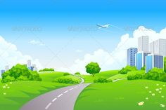Landscape green hills with tree cityscape cloudscape and airplane Christmas Collection Halloween Collection Landscape Collec