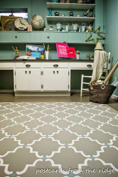 Paint Your Floor to Look Like a Rug