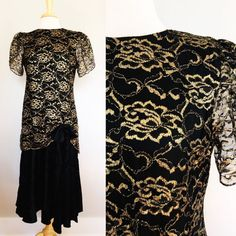 Gold Lace Dress // Black Golden Metallic Gown with by fredandlulu