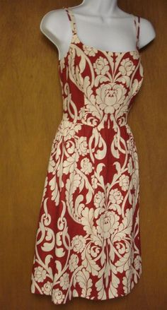 f110aef627e811 Ann Taylor Womens Dress Size 2 100% Linen Maroon   Ivory Spaghetti Strap   AnnTaylor  Sundress  Casual