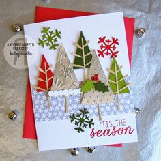 Card-Blanc by Kathy Martin: 'Tis the Season. Reverse Confetti stamp set: Seasonal Sentiment. Confetti Cuts: Branch Out, North Pole Wishes, and Let it Snow. Christmas card. Reverse Confetti #SFYTT Dec 2014