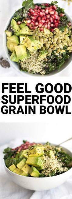 Healthy Recipes Feel Good Superfood Grain Bowl: a vegan and gluten free lunch or dinner that's packed with healthy ingredients like kale, hemp seeds, and chia seeds! Superfood Salad, Superfood Recipes, Healthy Recipes, Whole Food Recipes, Vegetarian Recipes, Diet Recipes, Cheap Recipes, Cleanse Recipes, Sausage Recipes