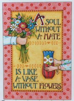 Handmade Fridge Magnet-Mary Engelbreit Artwork-A Soul Without A Mate