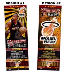 Miami Heat Ticket Birthday party invitations - Printable | BLiTzDesignz - Digital Art on ArtFire