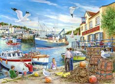 Ship Inn 1000 Pcs Jigsaw Puzzle by House of Puzzles for sale online Jigsaw Puzzels, Best Jigsaw, Seaside Art, Nostalgic Art, Summer Painting, Puzzle Art, Puzzle 1000, Summer Prints, Cartoon Art Styles