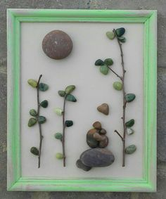 Simply and beautiful!  Pebble crafting is so much fun....let your imagination run wild.  This is so easy...find an old wood frame preferably with the hanging device or backboard already in place.  Add a touch of acrylic paint, some sanding AND voila!   This can also be viewed on my shop in          ETSY ....