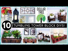 Dollar Tree Decor, Dollar Tree Crafts, Nifty Crafts, Diy Home Crafts, Wood Block Crafts, Wood Crafts, Jenga Blocks, Magic Crafts, Tower Block
