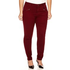 a.n.a Zip-Pocket Twill Pants ($32) ❤ liked on Polyvore featuring plus size fashion, plus size clothing, plus size pants, plus size, five pocket pants, white skinny pants, skinny leg pants, plus size white pants and twill pants