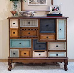 This uniqueAntique Chest Drawers is crafted with birch veneers and features a medium cherry finish. TheAntique Chest Drawers is made up of fourteen quirky drawers and cupboards and is an ideal piece to organize all of your possessions in one beautiful, unique place. | eBay!