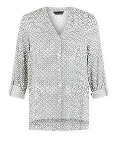 White Geo Print Dip Notch Neck Shirt  | New Look