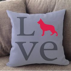 "Our German Shepherd LOVE pillow is 16"""" x16"""" in size with zipper cover for easy cleaning. Cover is printed on both sides and made in USA. Machine Wash, Cold Water, Gentle Cycle, Mild Detergent, Do no"