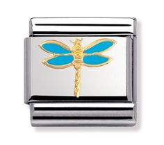 Evoking the joy of summer and nature, this charm depicts an image of a dragonfly. Made of stainless steel and embellished with coloured enamel on gold, this piece will add a little whimsy to your unique Nomination bracelet. Nomination Charms, Nomination Bracelet, Animal Symbolism, Blue Dragonfly, Life Is Precious, Custom Jewelry, Free Gifts, Wedding Jewelry, 18k Gold