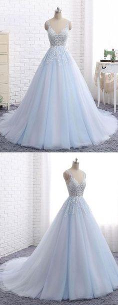 Elegant A-Line V-Neck Blue Tulle Long Prom/Evening Dress