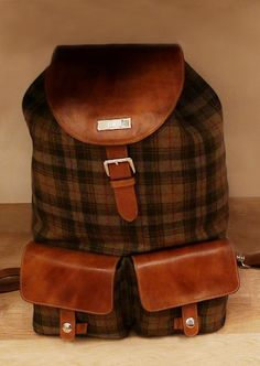 Men's Plaid backpack by designer Pitti Uomo ~ Fall/Winter 2013.