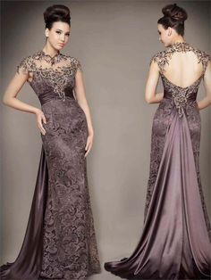 High Neck Embroidery Backless Brown Evening Dress