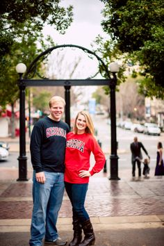 ::Katie + Derek's UGA-pride engagement photography session in Athens, Georgia:: #thearch #georgiaarch #georgiagrads #engaged
