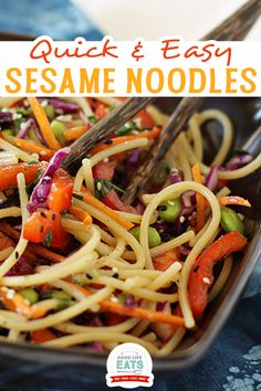 I have had this recipe for Sesame Noodles bookmarked for a few weeks now. They looked so fresh and easy, great for a school night dinner when our schedules are a bit more rushed. I finally got around to making it last week, which was timely because I had a bottle of Nakano Red Pepper Rice Vinegar to taste and this was a perfect recipe to test it out in. I normally buy plain Rice Vinegar, so it was a nice change to use something more flavored. | @goodlifeeats Asian Noodle Recipes, Asian Chicken Recipes, Asian Dinner Recipes, Easy Asian Recipes, Ethnic Recipes, Sesame Noodles, Homemade Dinner Rolls, Recipes With Few Ingredients, Rice Vinegar