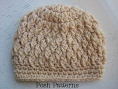 Crochet Pattern Easy Faux Cable Beanie Hat Sizes Baby to Adult