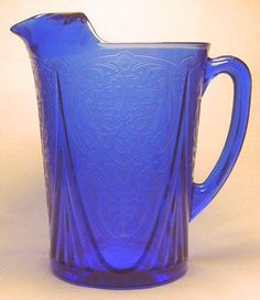 Depression Glass Pitcher - 48 Ounce - Blue Royal Lace $185