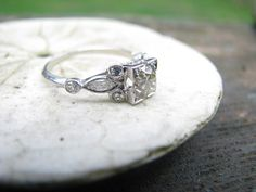 Lovely Art Deco Platinum Diamond Engagement Ring  - approx .90 carats - Old Mine Cut Diamond - Large Center w Old Cut Marquises and Rounds, $1250.00