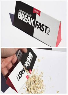 - Technique: I like the package because I am a lazy person who always eats a lot at one time. The package mouth to pour out the oats is the middle bound between the black left and white right side. Its shape is uniform triangular prism, leaving rooms conserving more oats. - Communication: The red graphic on one of the edges is a mark to unpack it. This pack has a fixed capacity for one meal, confining the eating volume. - Components: The paper package will be thrown and not environmental.