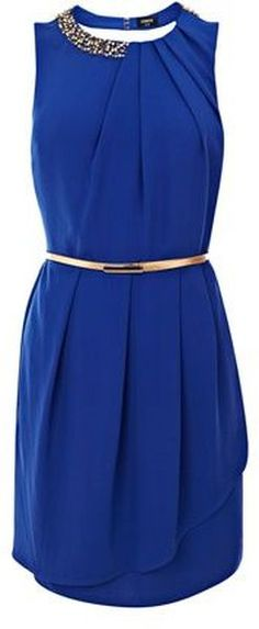 Oasis Paloma Embellished Dress in Blue - Lyst