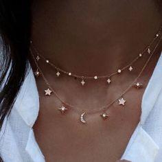 "Sparky Diamond Star and Crescent Moon Charm Choker Necklace Women""s Jewelry Gold Rose Gold Diy Jewelry Rings, Cute Jewelry, Boho Jewelry, Jewelry Accessories, Jewelry Design, Jewellery Box, Jewlery, Jewellery Shops, Star Jewelry"