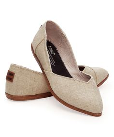 Look at this Natural Burlap Jutti Classic Flat on #zulily today!
