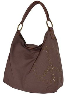 $129.99 Lucky Brand Studded Peace Brown Canvas Hobo Bag Handbag Purse - have this in green love it.