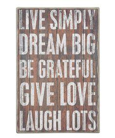 'Live Simply'