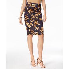 Thalia Sodi Printed Scuba Pencil Skirt, Created for Macy's ($37) ❤ liked on Polyvore featuring skirts, leafy baroque, white skirt, white knee length pencil skirt, knee length pencil skirts, white knee length skirt and pencil skirts