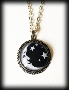 Moon Stars Necklace, Crescent Moon Glass Cameo Pendant, Gothic Witch Jewelry, Wicca Pagan, Gothic Gift For Her, Black and White Necklace by WhisperToTheMoon on Etsy