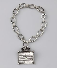 Take a look at this Antique Silver 'August' Calendar Crown Bracelet by Not Just Any Old Day on #zulily today!