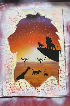 Phosphorescent Lion King - Glow in the Dark - SPRAY PAINT ART by Ucuetis