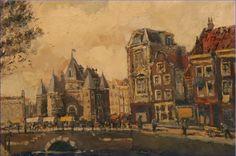 De Gelderse Kade met de Waag(Amsterdam), Hendrik Cornelis Kranenborg,  Amsterdam 1917 - Bergen op Zoom 1997