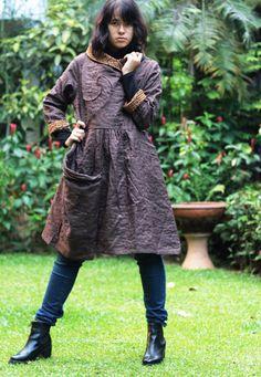 Flora Swirl winter funky coat dress ...2 layers by cocoricooo