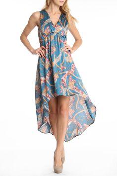 Tanya Printed Dress in Teal.