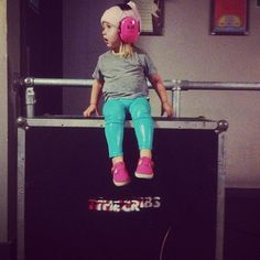 lux at a band's sound check today! so cute...she's wearing like pleather leggings! <3