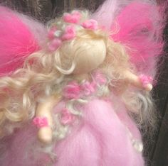 Needle felted Pink Flower Fairy Waldorf inspired Wool by Nushkie