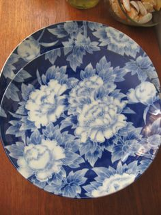 Vintage Blue and White Japanese PEONY Platter by almasvintage