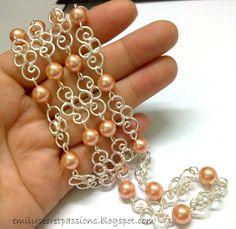Emily Secret Passions: Handmade Wire Jewelry ~ Rose Peach Swarovski Pearl Swirly Necklace