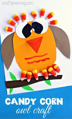 Fun Candy Corn Owl Art Project #Fall craft for kids to make! | CraftyMorning.com