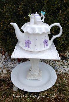 Teapot whimsy birdbath birdfeeder garden by BsCozyCottageCrafts