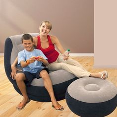 Intex Recreation makes above ground swimming pools, air beds, inflatable toys, pool and lake boats, and the proprietary Intex Saltwater Pool System. This clever, comfortable inflatable chair-and-ottoman set, from inflatable goods maker Intex, features soft flocked material, an angled backrest, and built-in cup holder.   eBay!