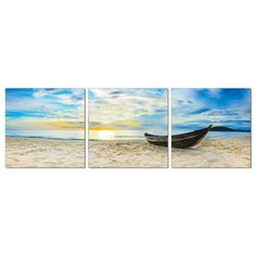 Furinno SeniA Wall Mounted Triptych Photography Prints, Fishing at Sunset, Set of Three