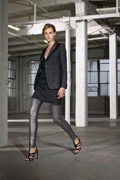 #NYFW Black blazer, black mini dress and silver metallic skinnies outfit. BLK DNM, Ready-to-Wear Spring 2014. Photo: Courtesy of BLK DNM