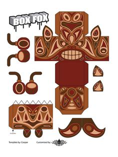 Totem Box Fox Paper Toy