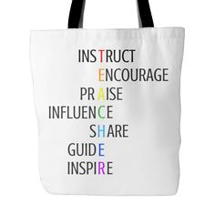 Teacher Acrostic Tote Bag - Great Teacher Gift - FREE SHIPPING