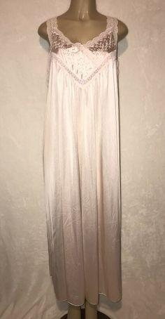 Robe Peach Olga Long Gown Polyester Medium Vintage Lingerie ..